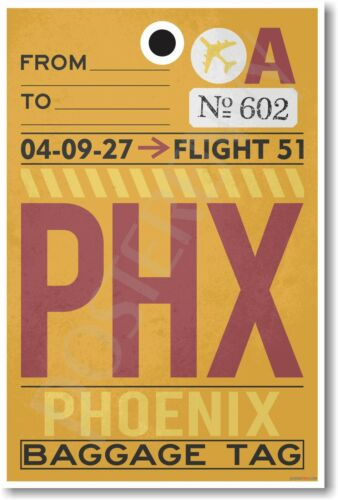 tr488 NEW Travel POSTER PHX Phoenix Airport Baggage Tag