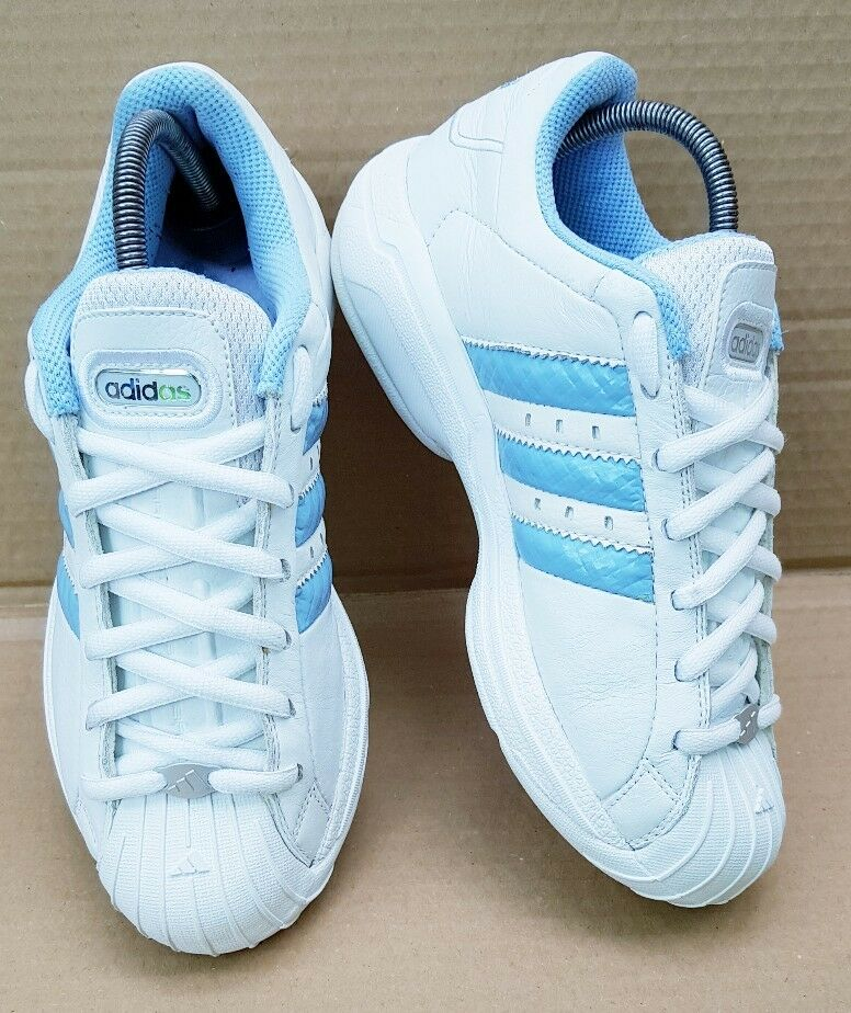 ADIDAS SUPERSTAR SHELL TOE TRAINERS IN SIZE 6 UK WEISS & Blau VINTAGE CLASSIC