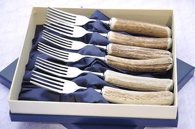 Leale Sei Genuine Addio Al Celibato/antler Handle Bistecca Forchette In Scatola Made In Sheffield Inghilterra-