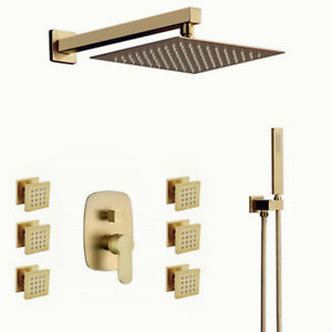 Details About Bathroom Luxury Br Brushed Gold 10 Rainfall Shower System With Body Jets Set