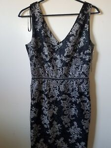 NWT-DAVID-MEISTER-Black-With-Gold-Embroidered-Tulle-Sleeveless-Dress-Size-6-275