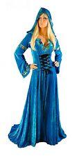 Renaissance Medieval Gothic Aqua Blue Gown Dress Corset Satin Costume S M Tudor