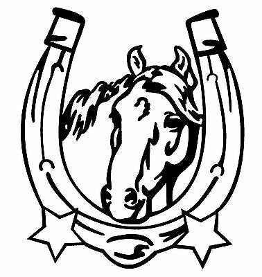 QUARTER HORSE IN HORSE SHOE STICKER DECAL BRAND NEW FOR CAR,FLOAT, TACK BOX #215
