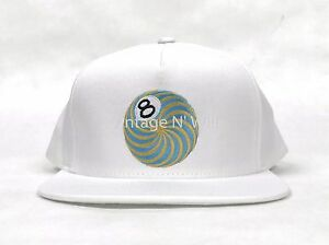 bc17dd597e4 Image is loading Stussy-Psychedelic-8-Eightball-White-Snapback-Hat-Baseball-