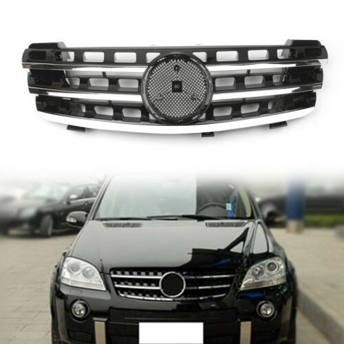 3 Fin Front Hood Sport Black Chrome Grill Grilles For Benz ML Class W164 2005-08