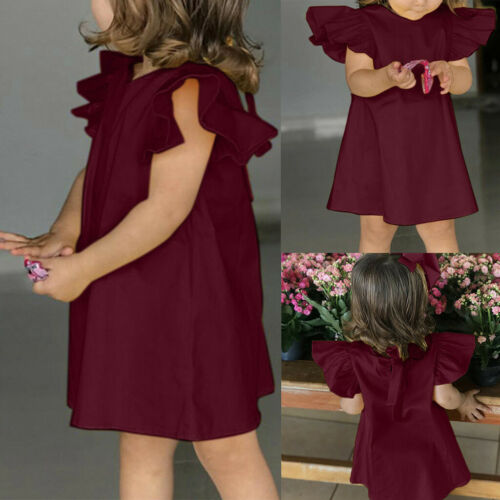 Summer Infant Baby Girls Fly Sleeve Solid Bow Dress Clothes Loose Prince Dress
