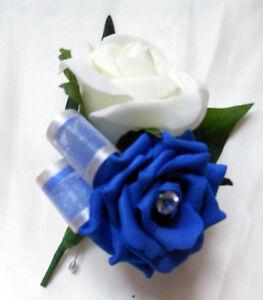Buttonhole Wedding flowers Royal blue /& Ivory bridal rose pin on corsage