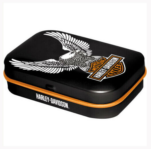 Retro Tin Metal Pill Box HARLEY DAVIDSON EAGLE Mints Motorcycles Licensed 6x4cm