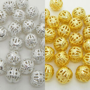 Silver-amp-Gold-Filigree-Metal-Round-Beads-Spacer-4mm-6mm-8mm-Jewelry-Making-Craft