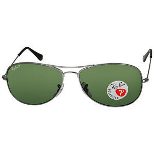 45f7fff667 Ray Ban Cockpit Gunmetal Crystal Green 59mm Sunglasses RB3362-59-004-58