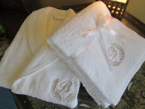 Robe-Gold//Silver Personalized Bath Towels 5* Hotel Edition White Set Bathrobe