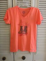 Life Is Good Women's Happy Trails Boots Crusher V Neck Shirt Size Xs