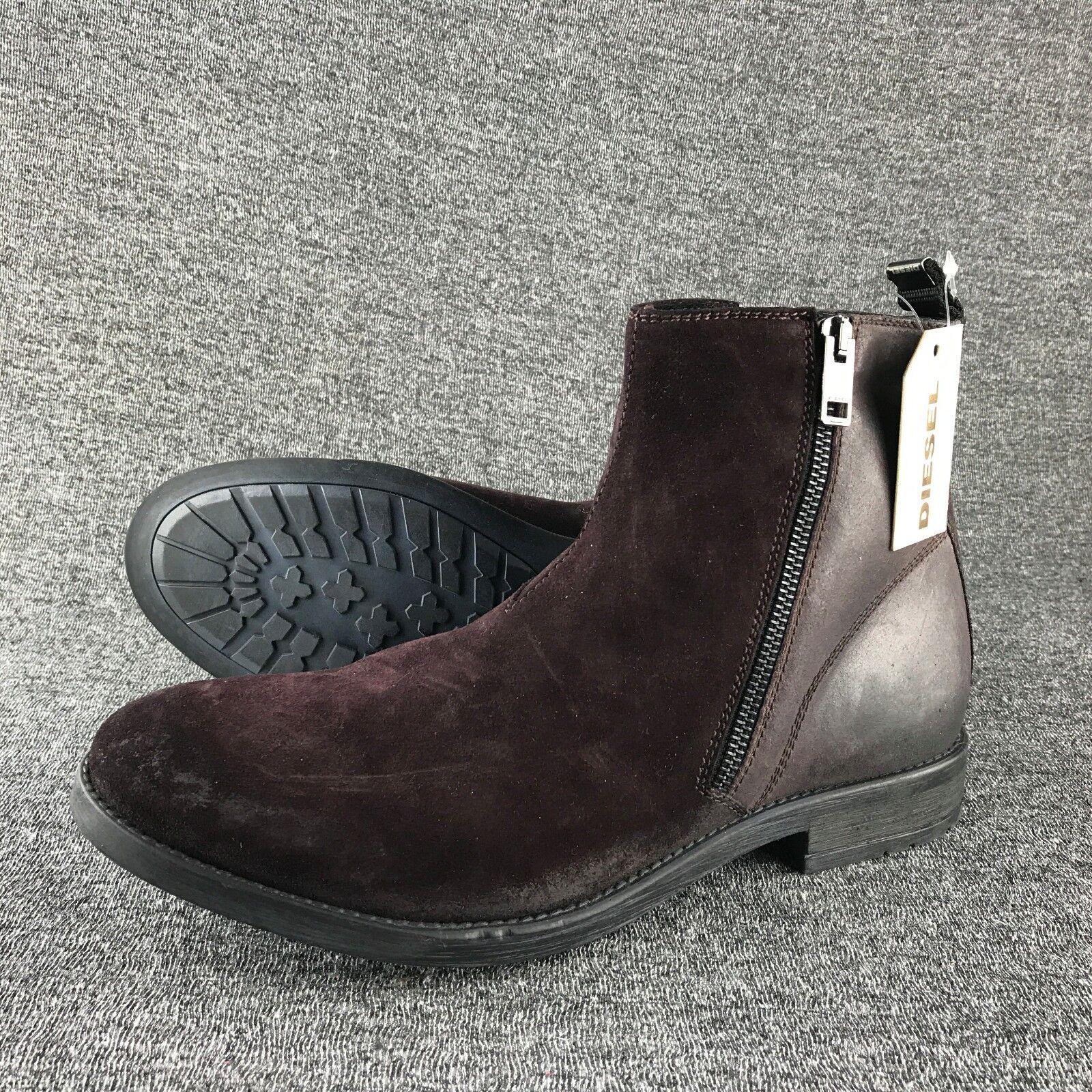 NWT  Mens Size 9 Diesel Serberhus D-Anklyx Burgundy Suede Boots