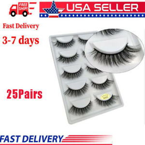1992a87167e 25Pairs Lot Lilly Miami 3D Full Strip Lashes Real Siberian Mink ...