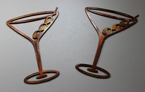 Details About Copper Bronze Martini Glasses Metal Wall Art Decor Set Of 2 Pieces 6 1 2 Tall