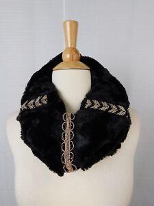 INC International Concepts Embellished Faux Fur Cowl Loop Scarf Black #968