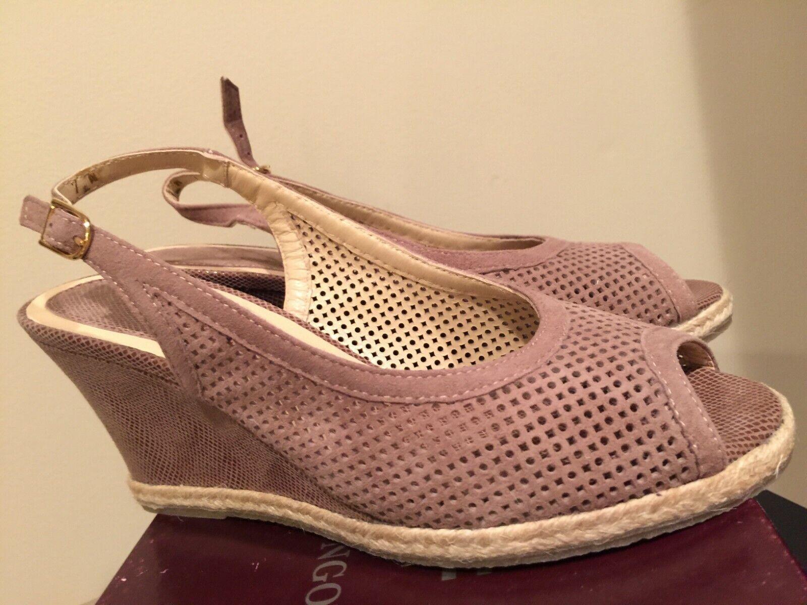 NIB AMALFI by Rangoni Cacao Soft Suede Slingback Sandals Dimensione 7N Narrow  ITALY