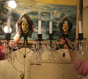 2-Bronze-Brass-Jeweled-Sconces-LADY-DECO-Gothic-Medieval-Crystal-prisms