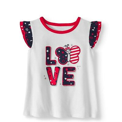 Baby Girls Flutter Sleeve Top Patriotic Butterfly Love 0-3 3-6 6-9 12 18 Month