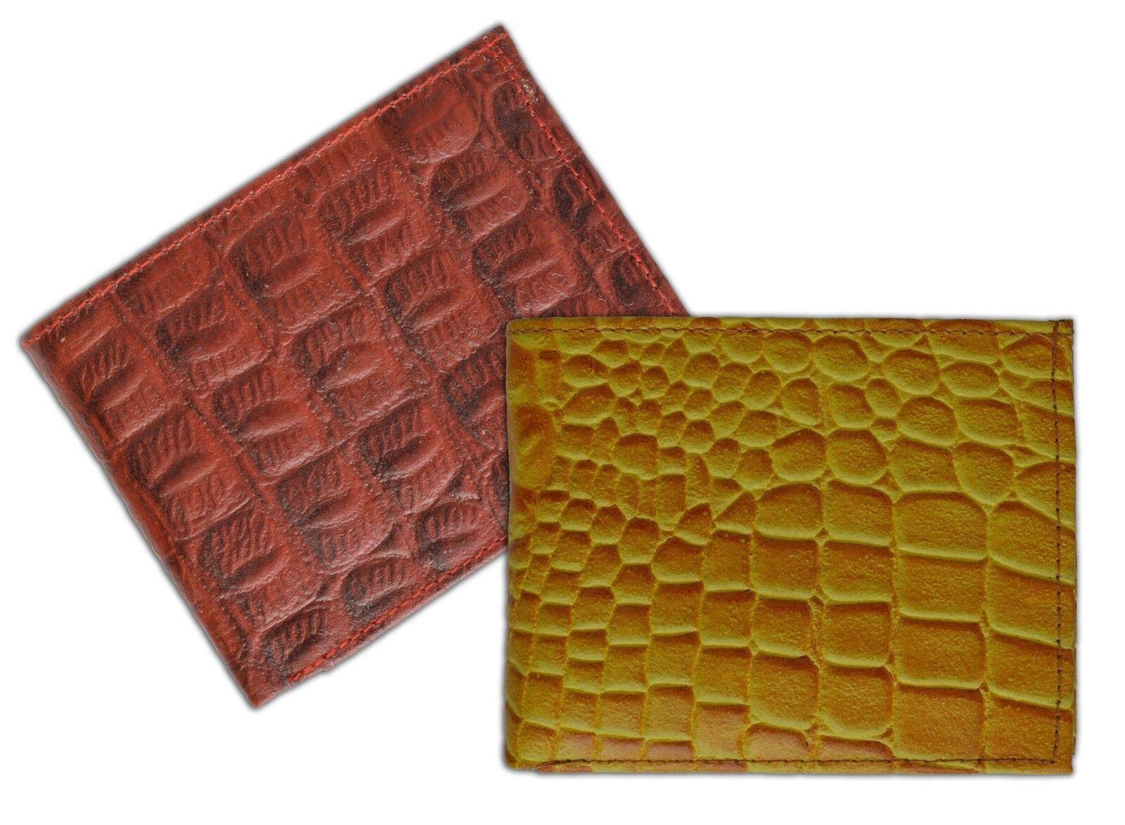 Men's Genuine Leather Bifold Wallet ID Credit Card Croc Print Flap Croco Emboss