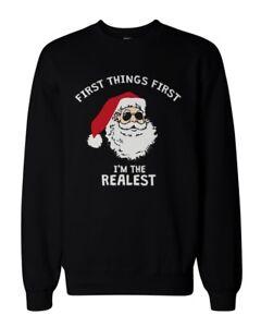 Funny-Holiday-Graphic-Sweatshirts-I-039-m-the-Realest-Santa-Black-Sweatshirt