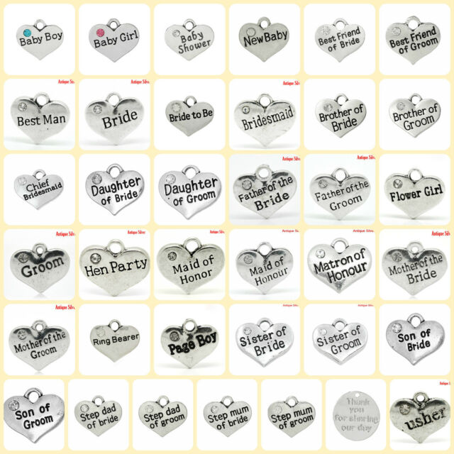 Pack of 4 x BABY & WEDDING charms Antique Silver 16mm x 14mm 40 Varieties