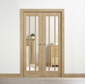 Oak Lincoln Clear Glazed Internal Interior French Doors Room Divider on