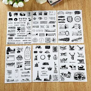 6-Sheets-Retro-Stamp-Stickers-DIY-Scrapbook-Ablum-Diary-Planner-Paper-For-Decor