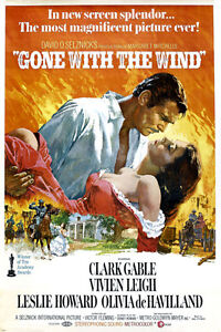 VINTAGE GONE with the WIND movie poster clark GABLE vivian ...