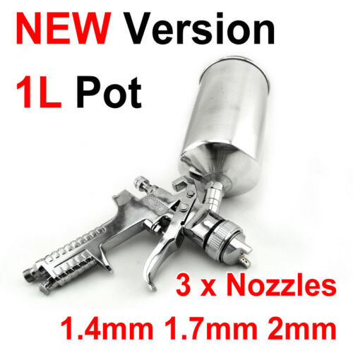 New Version 1L Large Pot 3 in 1 GRAVITY FEED HVLP PAINT SPRAY GUN 3 NOZZLES