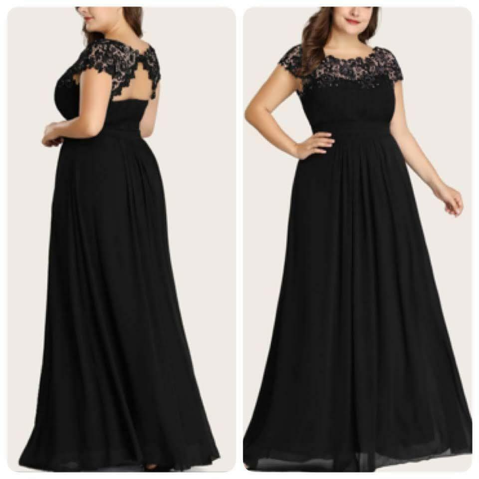 Ever Pretty Plus Size Mother of the Groom Gown Yoke Embellished Black 9993