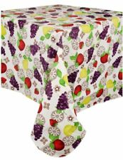 """LEAVES ON WHITE PETIOLE by BH seats 4 people PEVA Vinyl Tablecloth 60/"""" ROUND"""