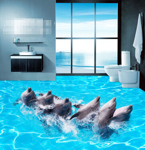 3D Perform Dolphins 9 Floor WallPaper Murals Wall Print 5D AJ WALLPAPER UK Lemon