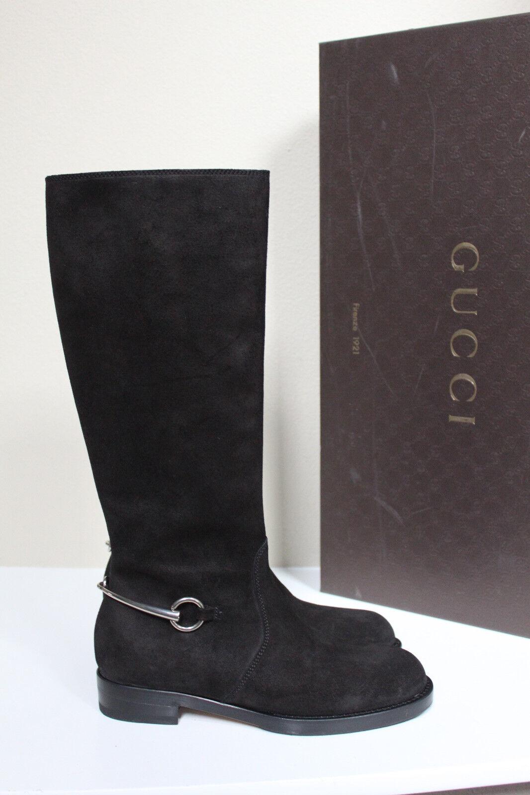 New sz 8 / 38 GUCCI Black Suede Horsebit Knee High Riding Boot Low Heel Shoes
