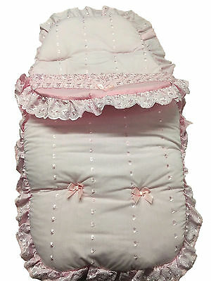 Frilly Broderie Anglaise Footmuff//Cosy Toes Pink with Ribbons
