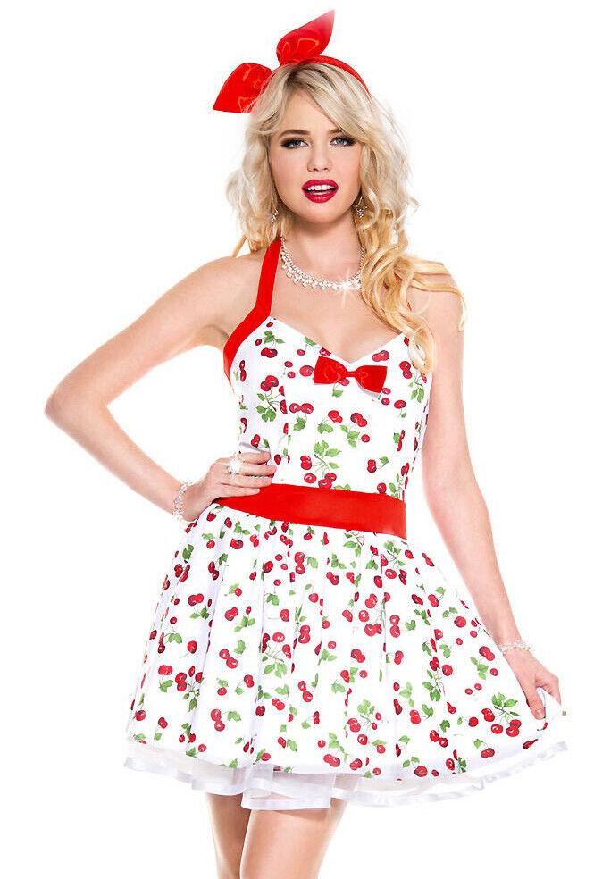Music legs white cherry print pinup costume