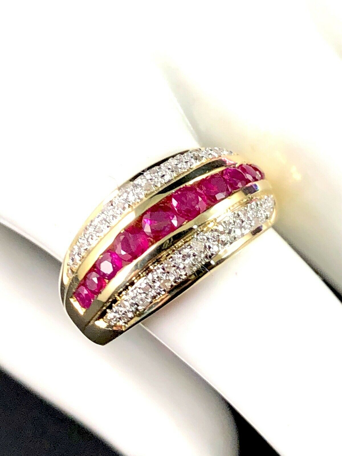 14K SOLID YELLOW gold .55 CTW RUBY 34 PAVE NATURAL DIAMOND CHANNEL SET RING 6.5