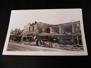 Long-Beach-California-CA-Earthquake-1933-3rd-amp-Pine-Damage-Real-Photo-RPPC-Cars