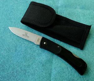 CAMILLUS-USA-Buckmasters-Lightweight-Lockback-Knife-VINTAGE-Drop-Point-Sheath
