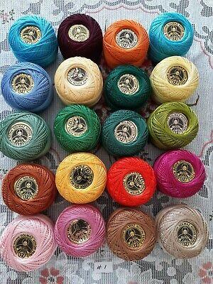 20 Balls Madam Tricote COTTON PERLE No:12 Assorted Colors Set 1 UK STOCK