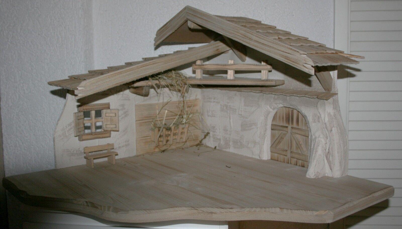 Krippe Weihnachten Holz Eckversion 90 Grad je 57 cm Seitenlänge bis 80 cm breit