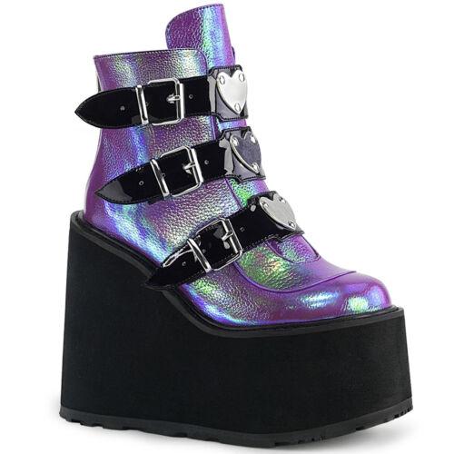 Demonia Women/'s  SWING-105 Platform /& 3 Buckle Straps /& Zip Closure Ankle Boots