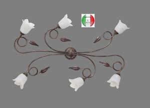 Plafoniere Da Esterno In Ferro Battuto : 34516 nrao silvia lampada a soffitto plafoniera ferro battuto 6 luci