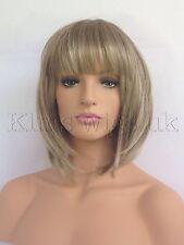 NEW LADIES WOMENS LIGHT BROWN/BLONDE MIX SHORT BOB STYLE FULL WIG UK SELLER