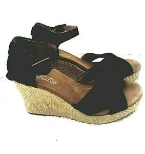 7dc09330a2e Details about TOMS Women Black Canvas Wedge Heel Sienna Espadrille Ankle  Strap Peep toe Sz 7.5