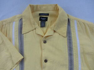 cf606f80d16 Haggar Men s Linen   Rayon S S Button Down Yellow Striped Dress ...