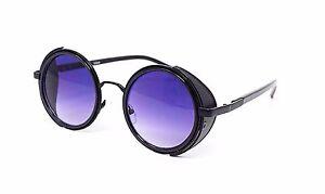 Noir + Violet Steampunk Lunettes Cyber Années 50 Rond Rétro Vintage ... 6a5281f63b81