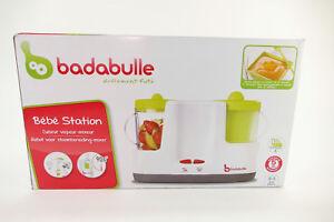 Badabulle-Nahrungszubereiter-Kuechenmaschine-Baby-Station-weiss-gruen