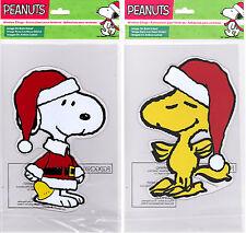 Peanuts Christmas Window Gel Clings featuring Santa Snoopy & Woodstock