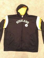 Men's Pittsburgh Steelers Reebok NFL Full Zip Front Hoodie 4XL Black